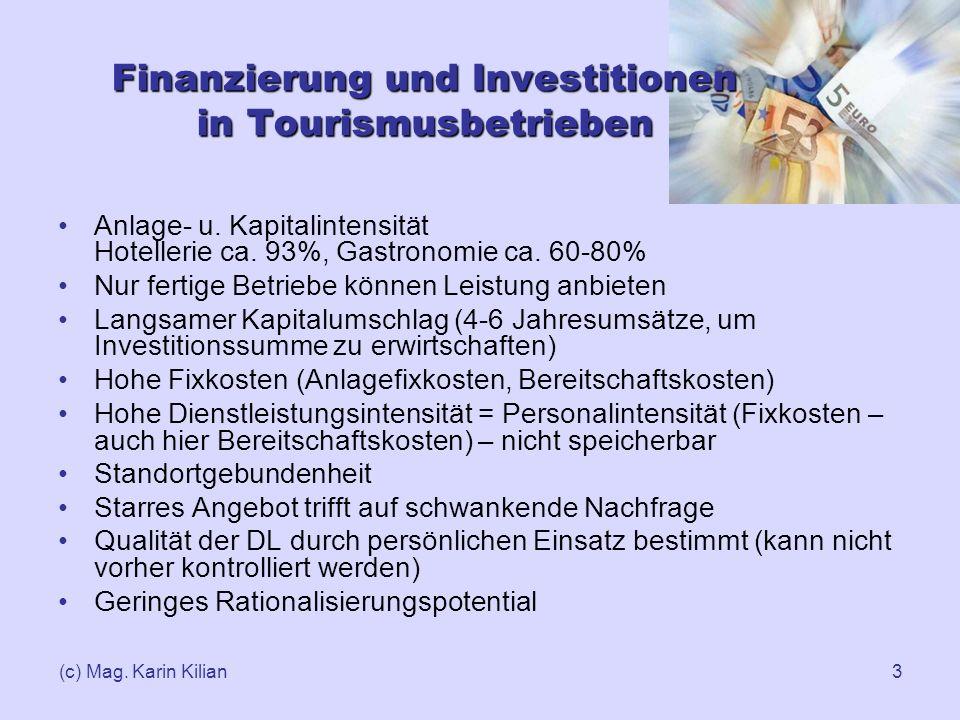 Finanzierung und Investitionen in Tourismusbetrieben