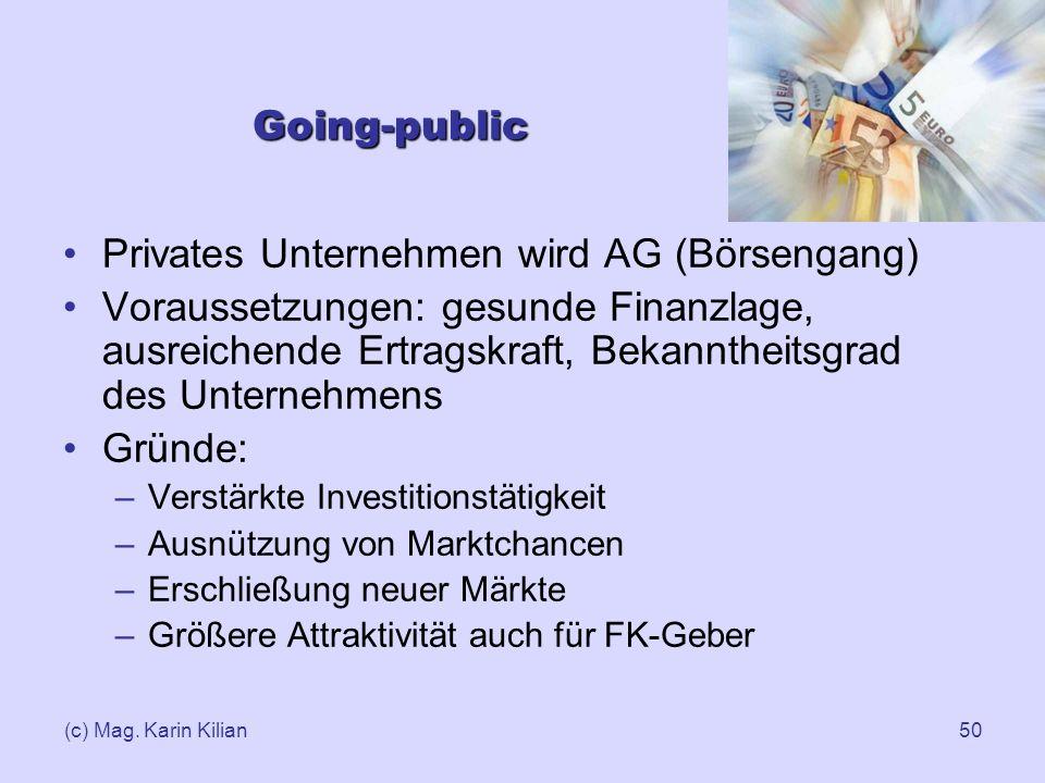 Privates Unternehmen wird AG (Börsengang)
