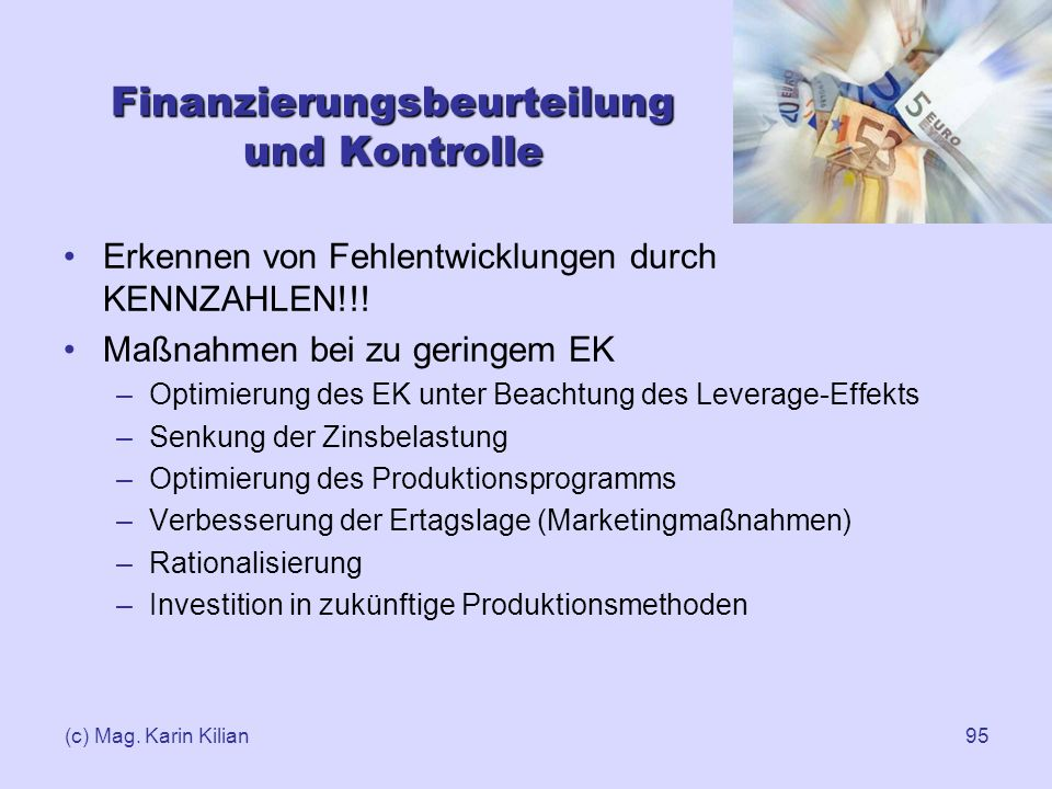 Finanzierungsbeurteilung und Kontrolle