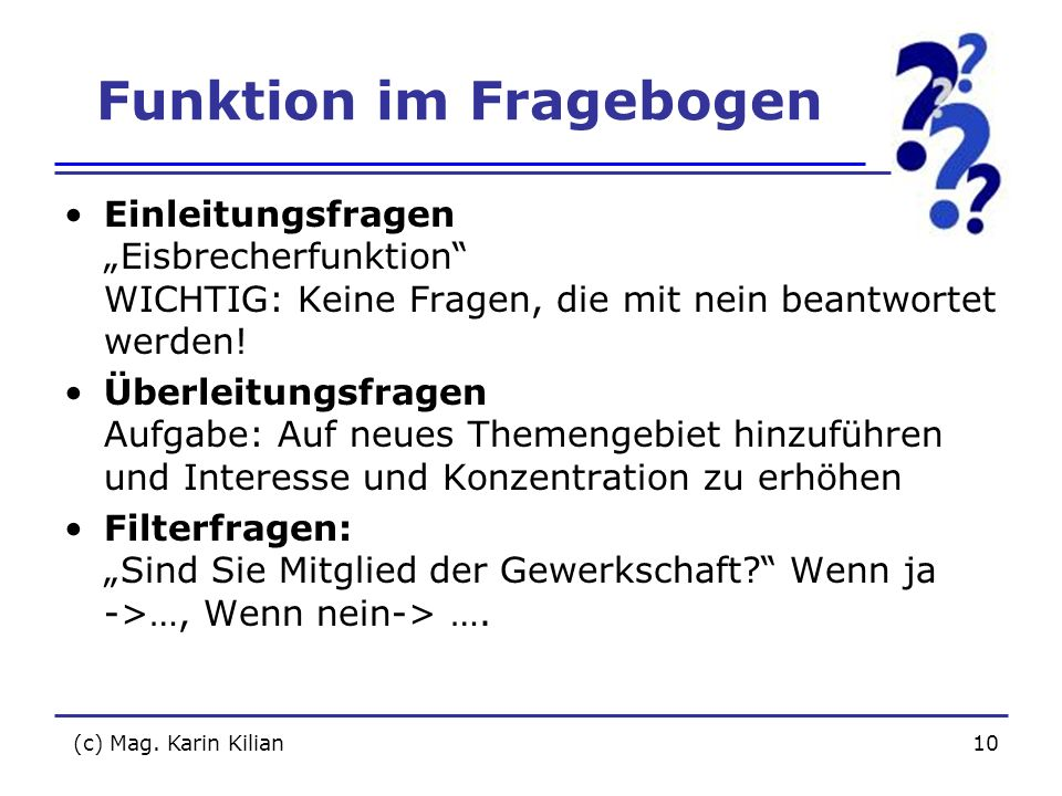 Funktion im Fragebogen