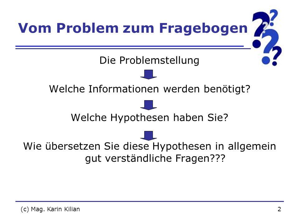 Vom Problem zum Fragebogen