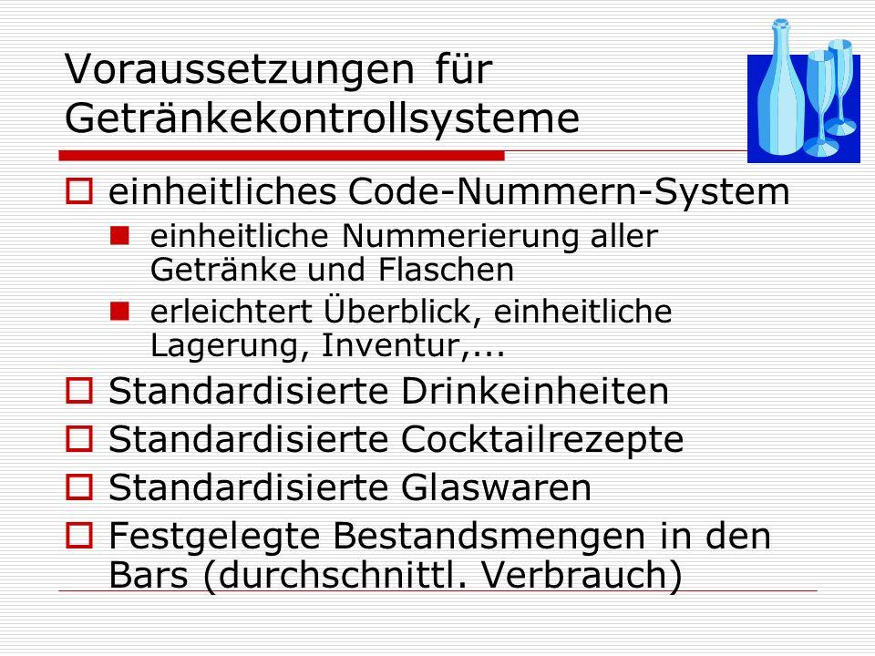 Voraussetzungen für Getränkekontrollsysteme
