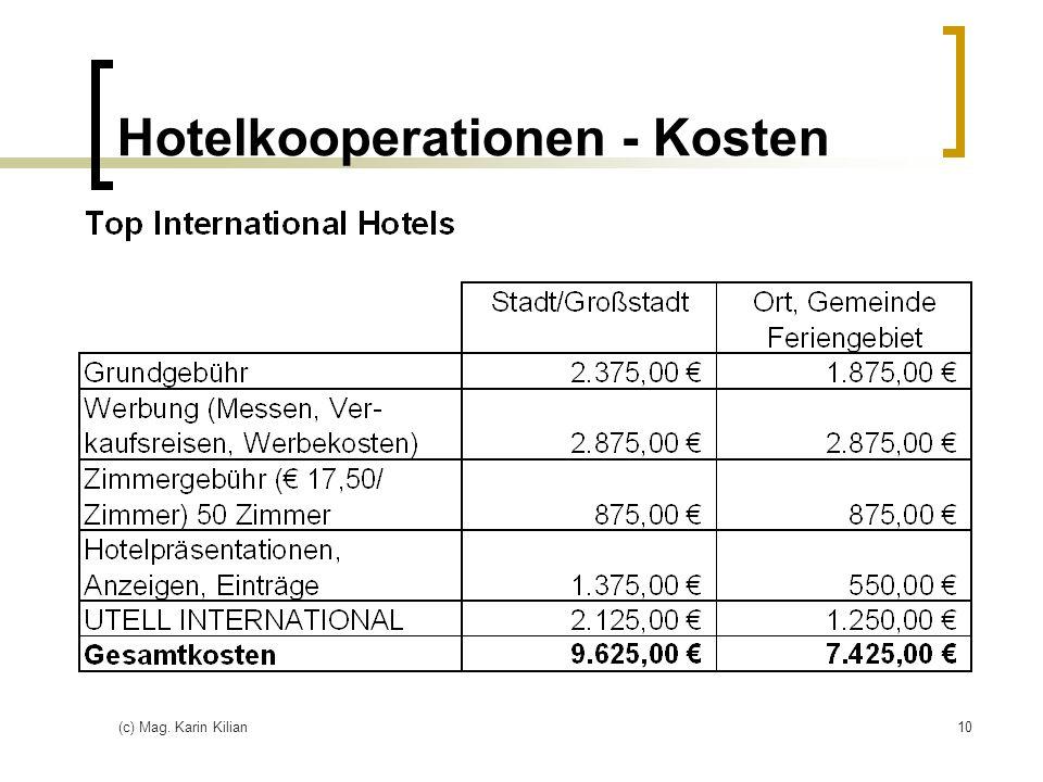 Hotelkooperationen - Kosten