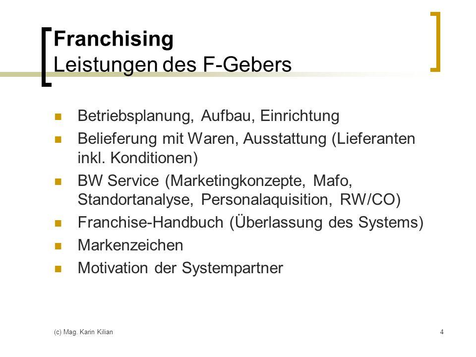 Franchising Leistungen des F-Gebers