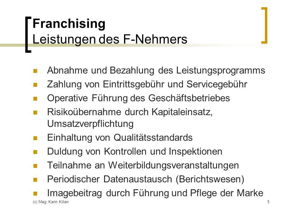 Franchising Leistungen des F-Nehmers