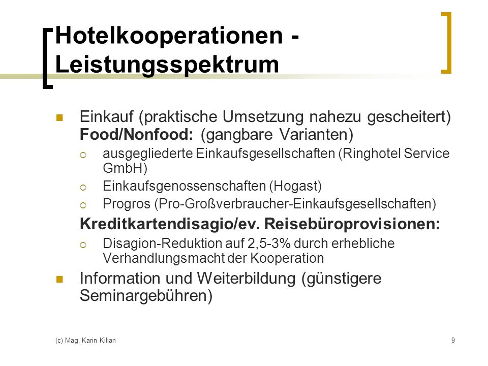 Hotelkooperationen - Leistungsspektrum