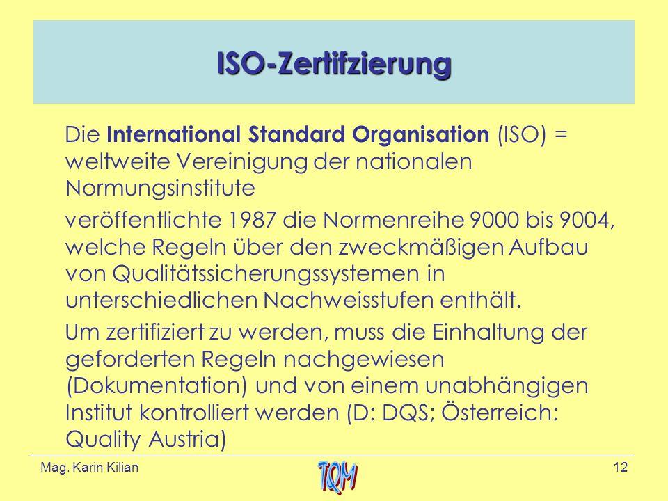 ISO-Zertifzierung Die International Standard Organisation (ISO) = weltweite Vereinigung der nationalen Normungsinstitute.