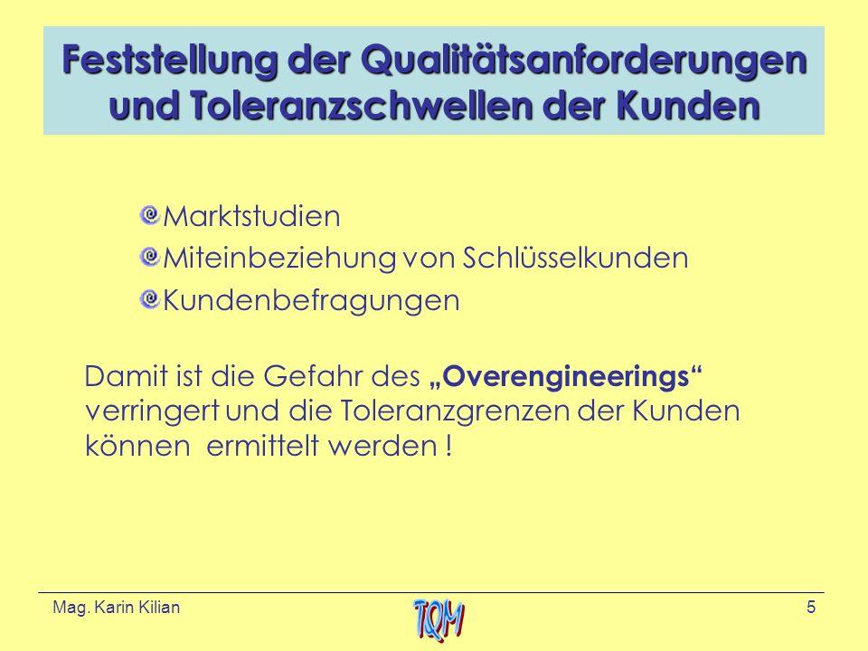 Feststellung der Qualitätsanforderungen und Toleranzschwellen der Kunden