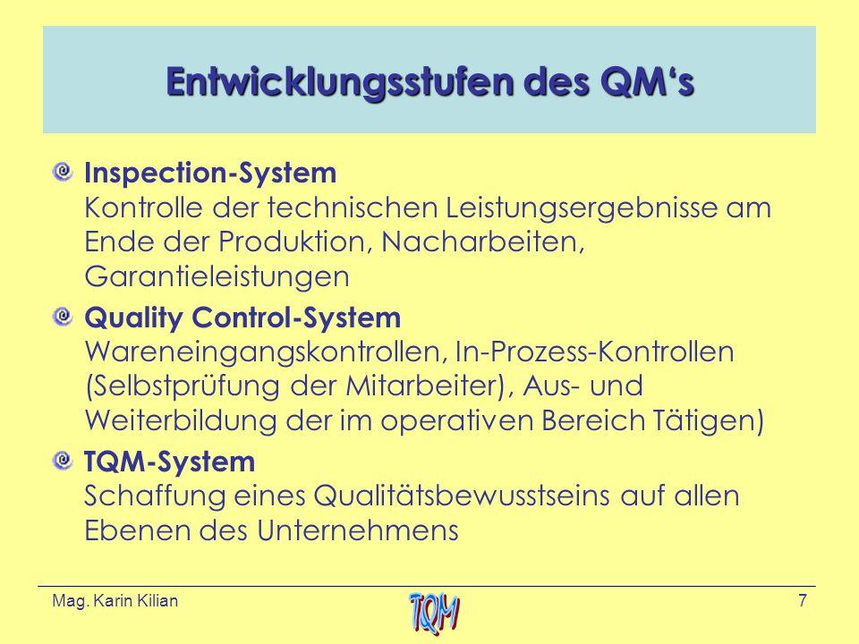 Entwicklungsstufen des QM's