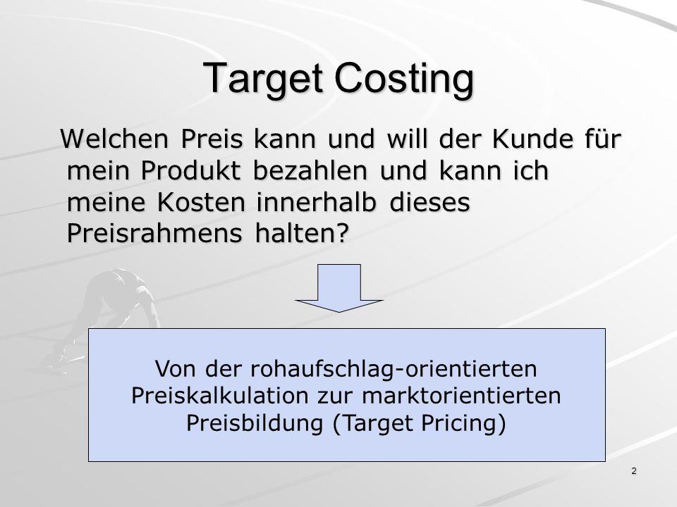 Target Costing Welchen Preis kann und will der Kunde für mein Produkt bezahlen und kann ich meine Kosten innerhalb dieses Preisrahmens halten