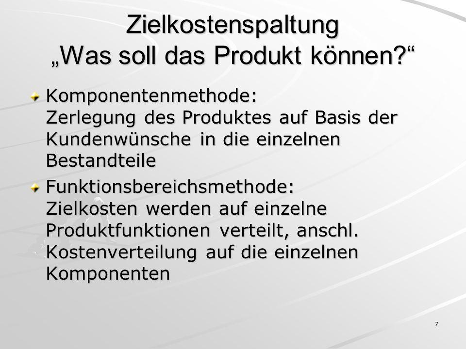 """Zielkostenspaltung """"Was soll das Produkt können"""