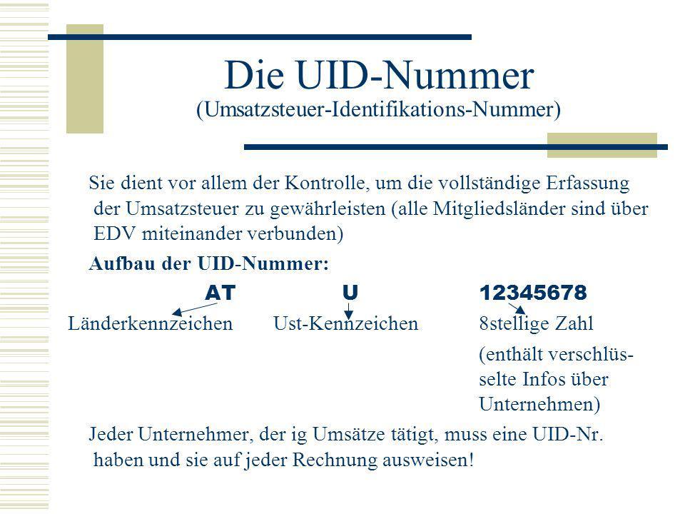 Die UID-Nummer (Umsatzsteuer-Identifikations-Nummer)