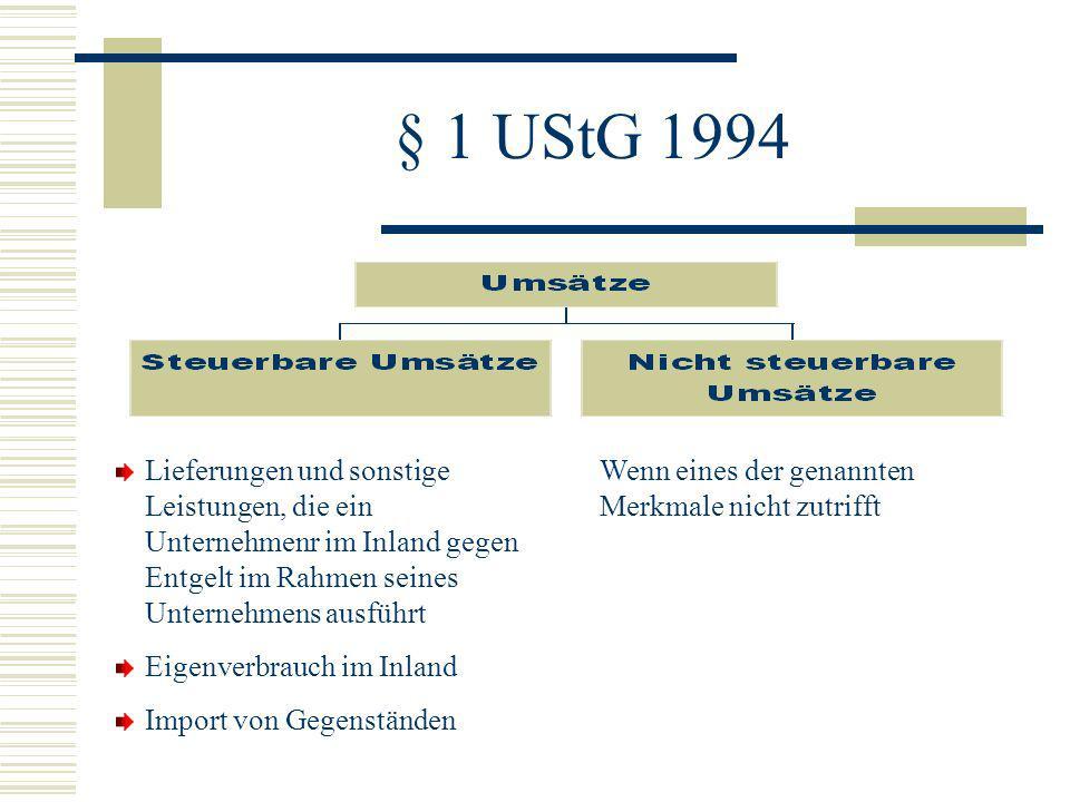 § 1 UStG 1994 Lieferungen und sonstige Leistungen, die ein Unternehmenr im Inland gegen Entgelt im Rahmen seines Unternehmens ausführt.