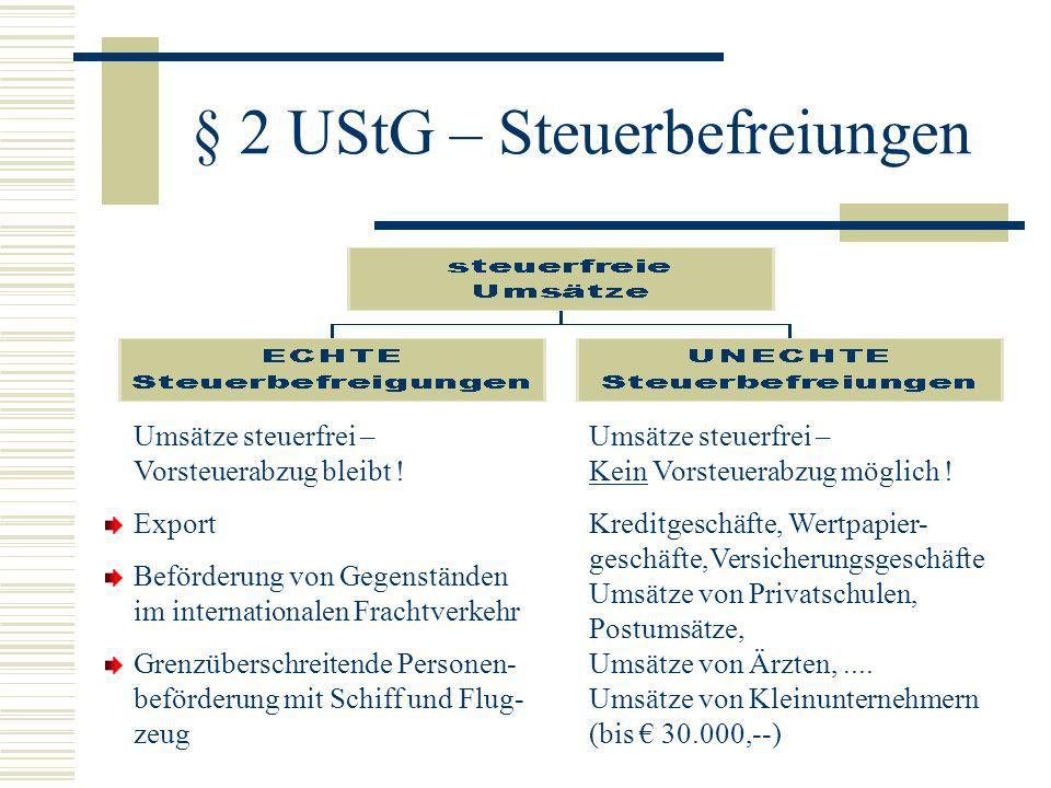 § 2 UStG – Steuerbefreiungen
