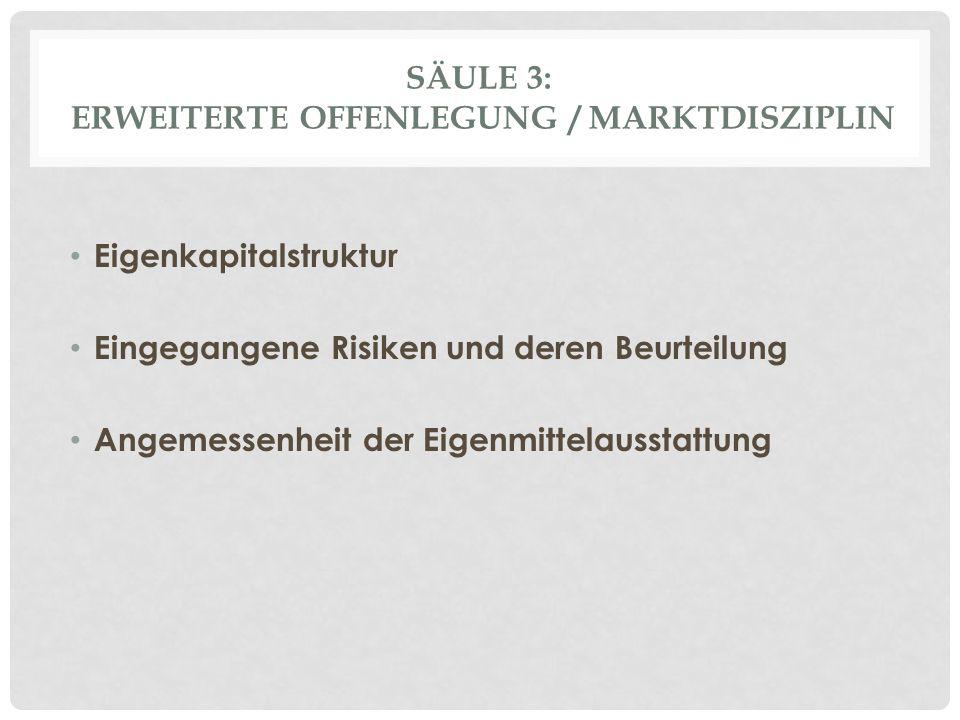 Säule 3: Erweiterte Offenlegung / Marktdisziplin