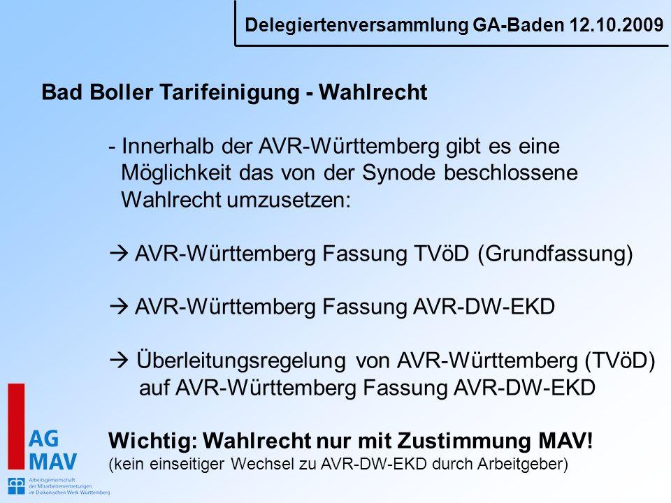 Bad Boller Tarifeinigung - Wahlrecht