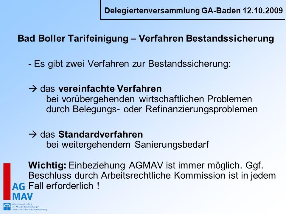 Bad Boller Tarifeinigung – Verfahren Bestandssicherung