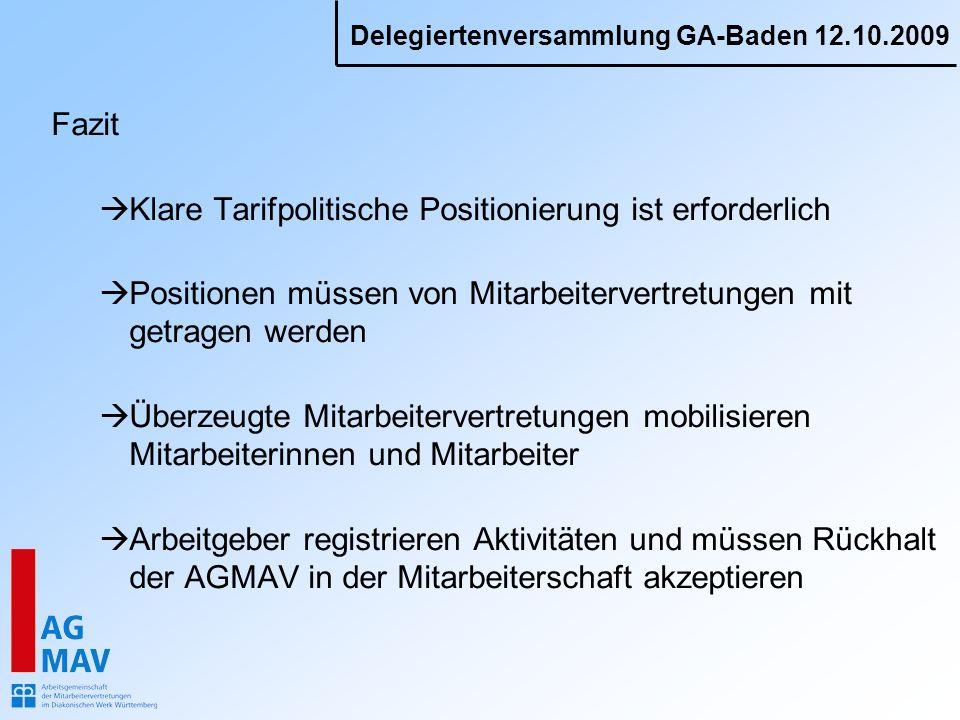 Fazit Klare Tarifpolitische Positionierung ist erforderlich. Positionen müssen von Mitarbeitervertretungen mit getragen werden.