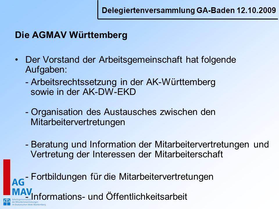 Die AGMAV Württemberg Der Vorstand der Arbeitsgemeinschaft hat folgende Aufgaben: