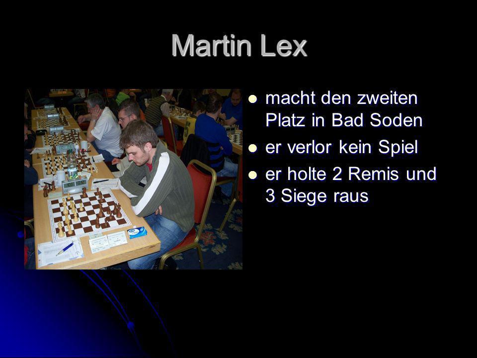 Martin Lex macht den zweiten Platz in Bad Soden er verlor kein Spiel