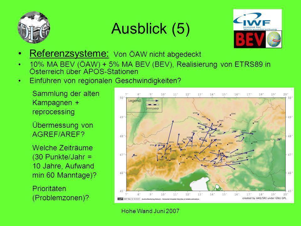 Ausblick (5) Referenzsysteme: Von ÖAW nicht abgedeckt
