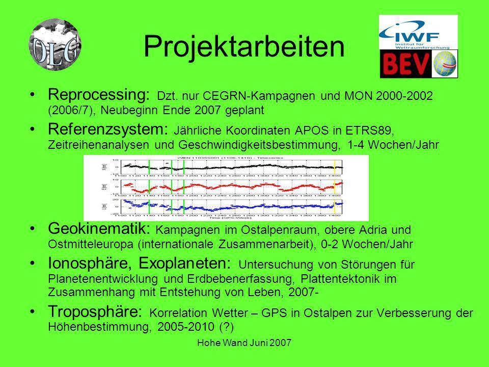 Projektarbeiten Reprocessing: Dzt. nur CEGRN-Kampagnen und MON 2000-2002 (2006/7), Neubeginn Ende 2007 geplant.