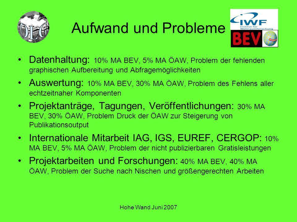 Aufwand und Probleme Datenhaltung: 10% MA BEV, 5% MA ÖAW, Problem der fehlenden graphischen Aufbereitung und Abfragemöglichkeiten.