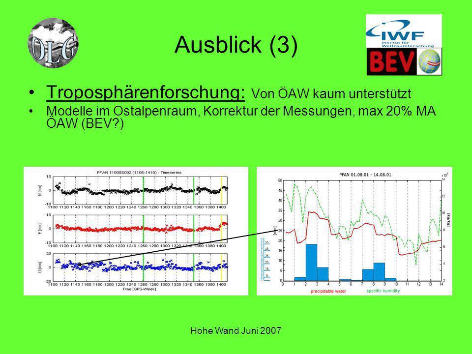 Ausblick (3) Troposphärenforschung: Von ÖAW kaum unterstützt