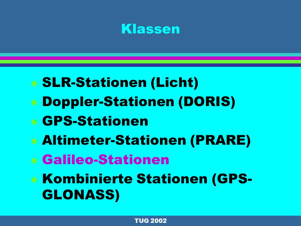 SLR-Stationen (Licht) Doppler-Stationen (DORIS) GPS-Stationen