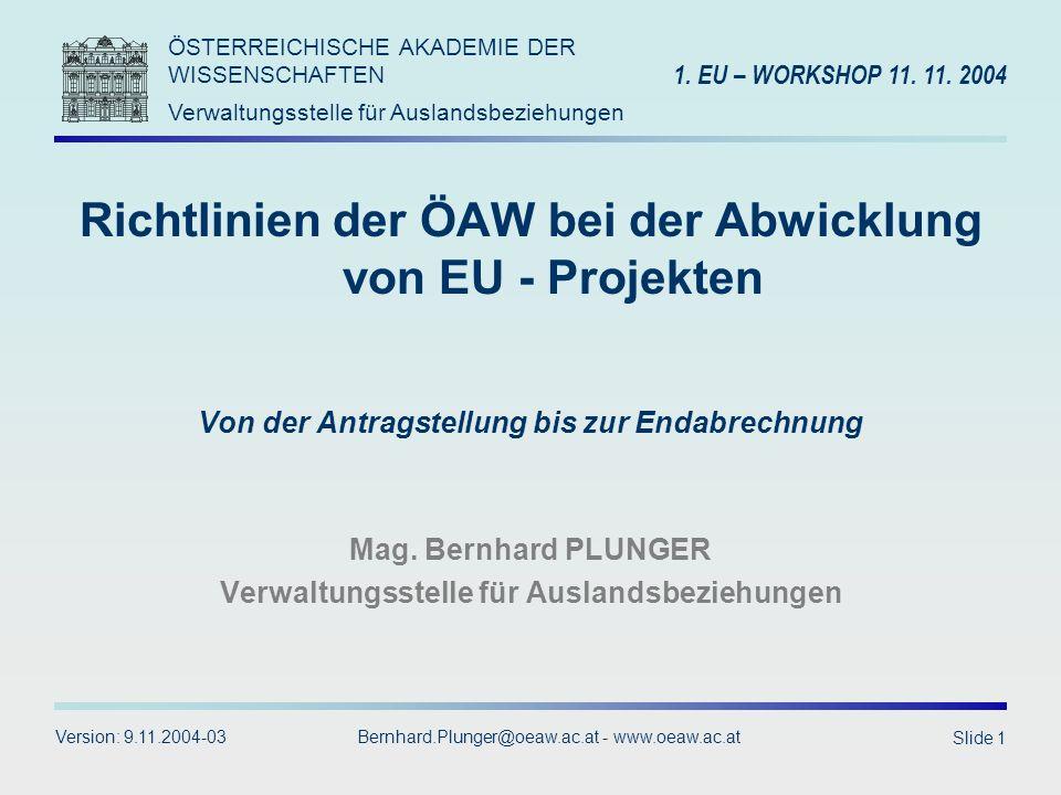 Richtlinien der ÖAW bei der Abwicklung von EU - Projekten