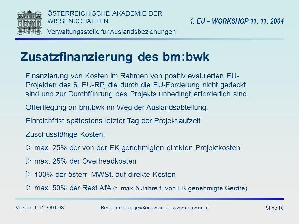 Zusatzfinanzierung des bm:bwk
