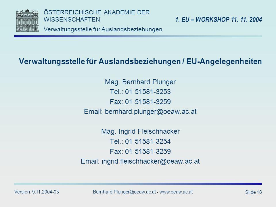 Verwaltungsstelle für Auslandsbeziehungen / EU-Angelegenheiten