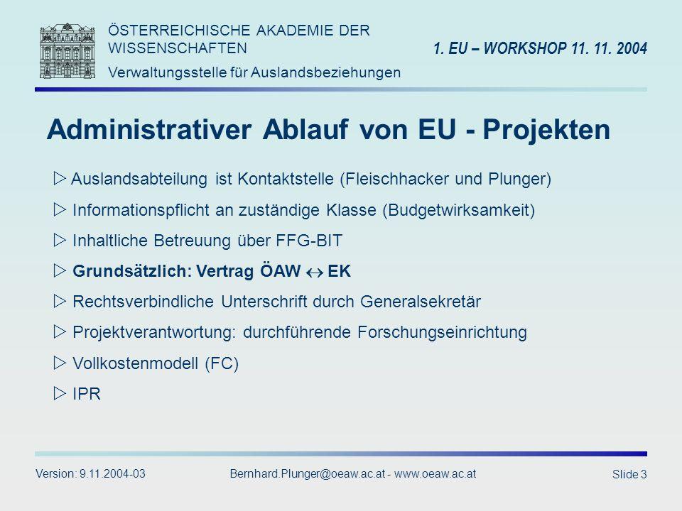 Administrativer Ablauf von EU - Projekten