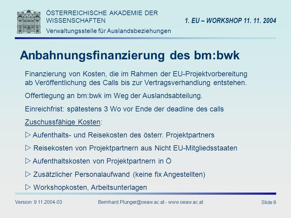 Anbahnungsfinanzierung des bm:bwk