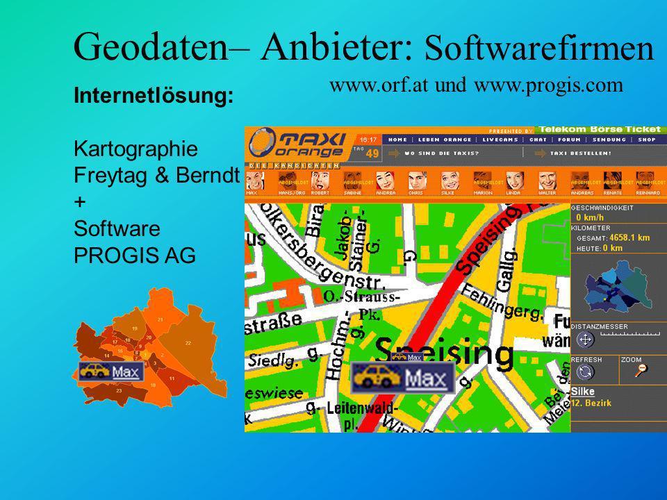Geodaten– Anbieter: Softwarefirmen