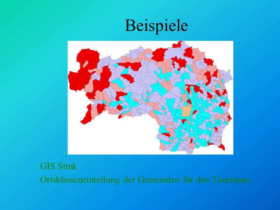 Beispiele GIS Stmk Ortsklasseneinteilung der Gemeinden für den Tourismus