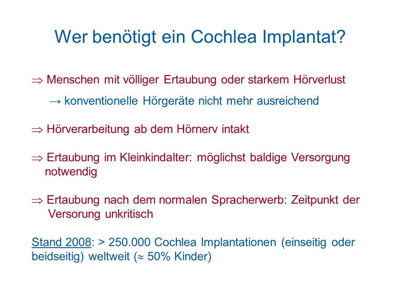 Wer benötigt ein Cochlea Implantat