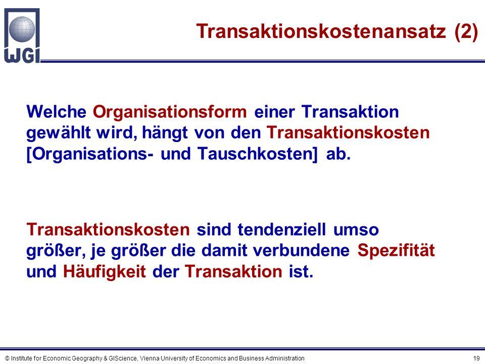 Netzwerke und Transaktionskosten