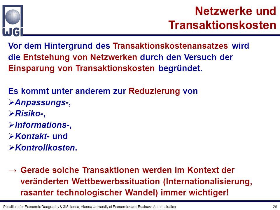Netzwerke als geeignete Organisationsform zur