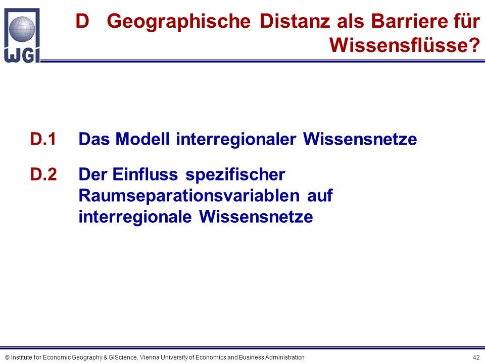 Das räumliche Interaktionsmodell Interregionaler Wissensnetze - Spezifikation