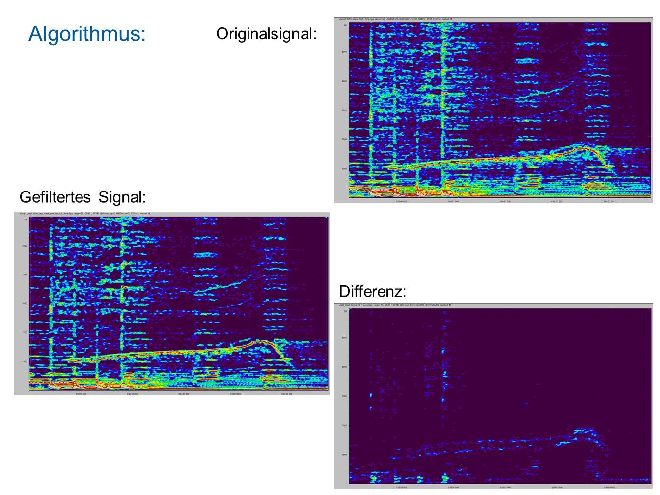 Algorithmus: Originalsignal: Gefiltertes Signal: Differenz:
