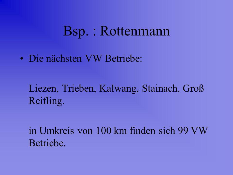Bsp. : Rottenmann Die nächsten VW Betriebe: