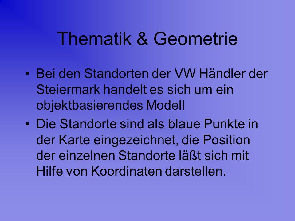 Thematik & Geometrie Bei den Standorten der VW Händler der Steiermark handelt es sich um ein objektbasierendes Modell.