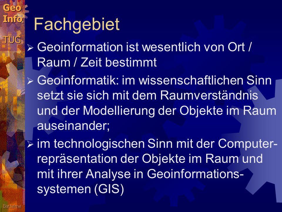 Fachgebiet Geoinformation ist wesentlich von Ort / Raum / Zeit bestimmt.