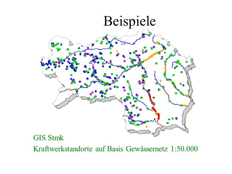 Beispiele GIS Stmk Kraftwerkstandorte auf Basis Gewässernetz 1:50.000