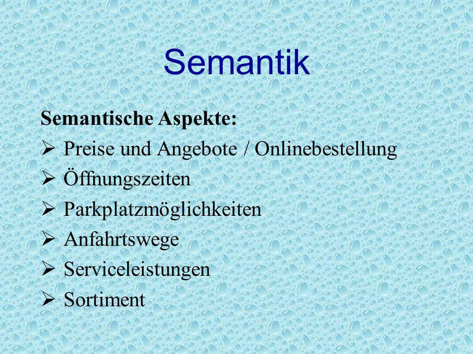 Semantik Semantische Aspekte: Preise und Angebote / Onlinebestellung