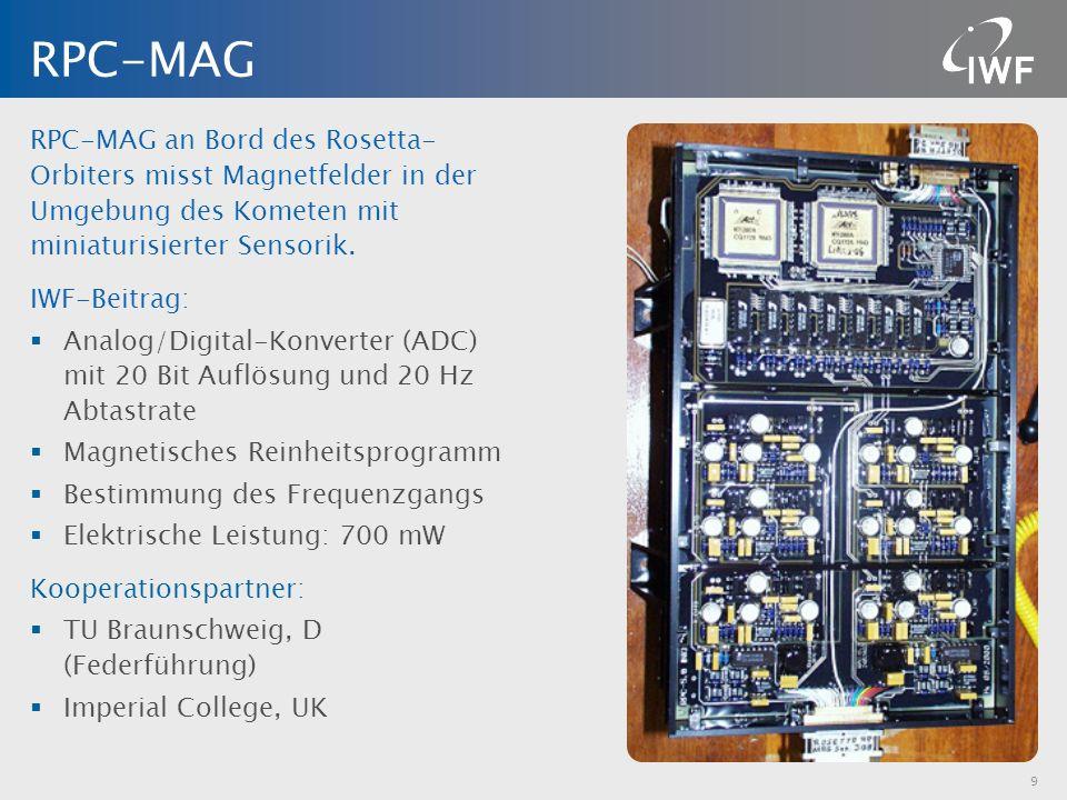 RPC-MAG RPC-MAG an Bord des Rosetta-Orbiters misst Magnetfelder in der Umgebung des Kometen mit miniaturisierter Sensorik.