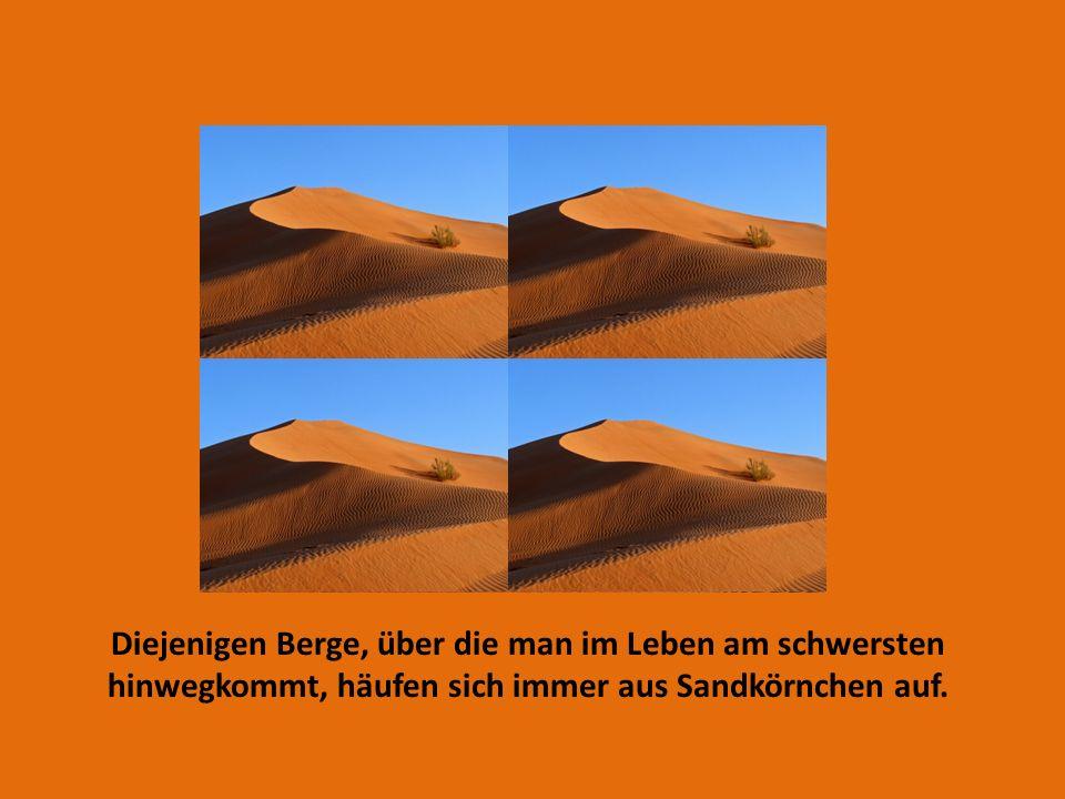 Diejenigen Berge, über die man im Leben am schwersten hinwegkommt, häufen sich immer aus Sandkörnchen auf.