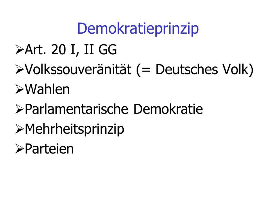 Demokratieprinzip Art. 20 I, II GG
