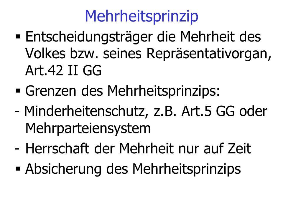 Mehrheitsprinzip Entscheidungsträger die Mehrheit des Volkes bzw. seines Repräsentativorgan, Art.42 II GG.